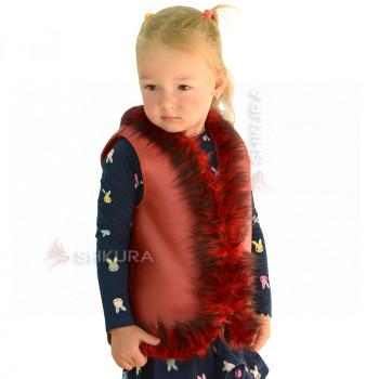 Детская меховая жилетка. Красная
