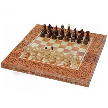 Деревянные шахматы 3 в 1, 55х55 см. Светлые
