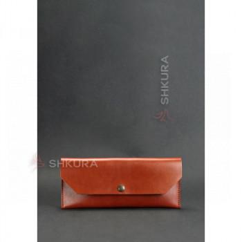Кожаный клатч-конверт светло-коричневый