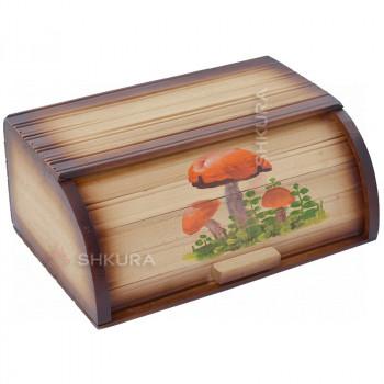 """Хлебница деревянная """"Грибы"""" 02"""