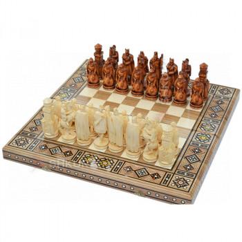 "Резные шахматы 3 в 1""Рыцари"" 50х50 см. Мозаика"