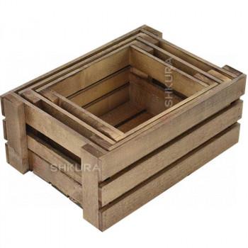 Набор деревянных ящиков, 3 шт. Орех