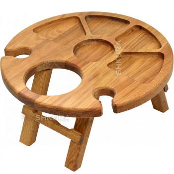 Винний столик на 2 келихи. Дуб