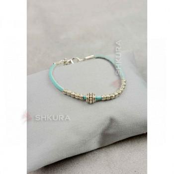 Женский кожаный браслет с металлическими бусинами бирюзовый