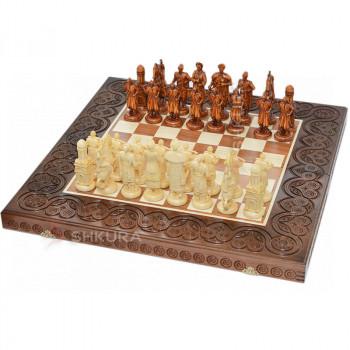 """Деревянные шахматы 3 в 1 """"Казаки"""". 55х55 см. Темные"""