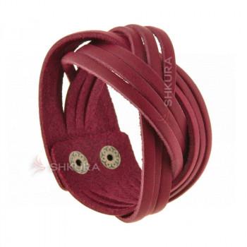 Женский кожаный браслет косичка бордовый