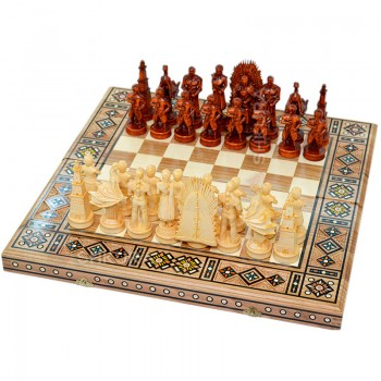 """Резные шахматы 3 в 1 """"Игра престолов"""". 50х50 см. Мозаика"""