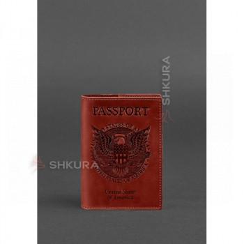 Женская кожаная обложка для паспорта коралловая с американским гербом