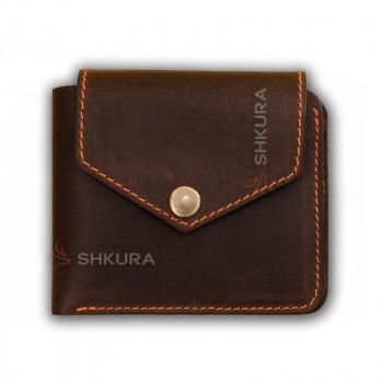 Кожаное портмоне 4.2 на кнопке темно-коричневое с оранжевой нитью