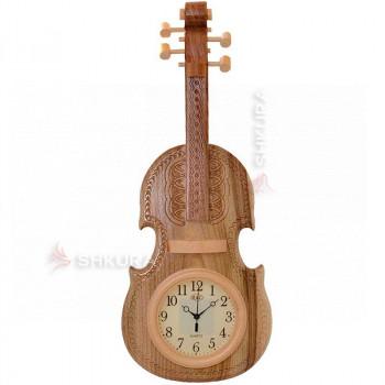 """Часы """"Скрипка"""", светлые, светлый циферблат"""