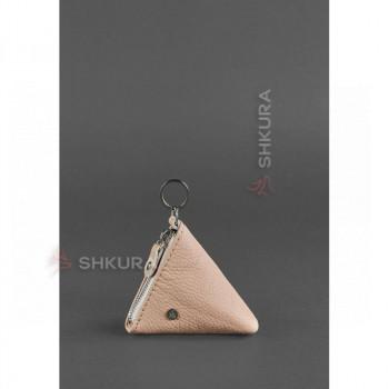 Женская кожаная монетница 2.0 Пирамида светло-бежевая