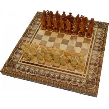 "Шахматы ""Казаки"" 50х50 см. Бисер+Медь."