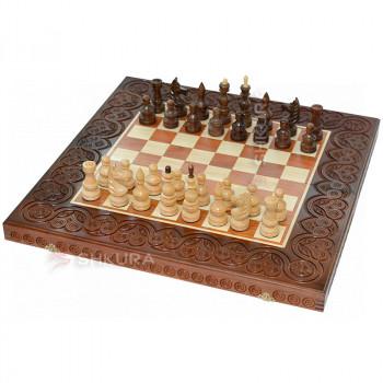 Деревянные шахматы 3 в 1, 55х55 см. Темные