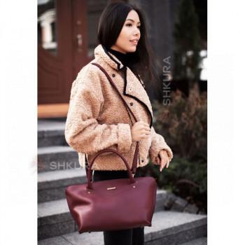 Женская кожаная сумка Midi бордовая