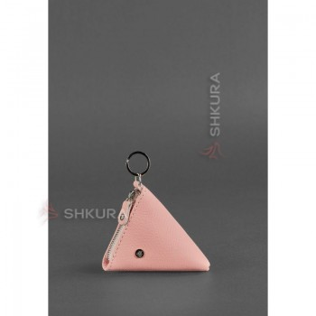 Женская кожаная монетница 2.0 Пирамида розовая
