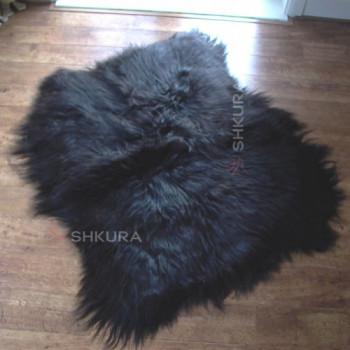 Ковер из черной исландской овчины, из 2 шкур