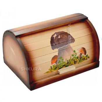"""Хлебница деревянная 16 """"Белые грибы"""""""