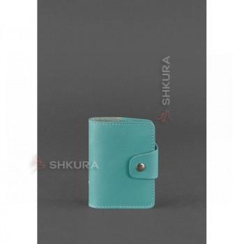 Женский кожаный кард-кейс 7.1 (Книжечка) бирюзовый