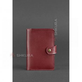 Женская кожаная обложка для паспорта 3.0 бордовая