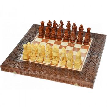 """Деревянные шахматы 3 в 1 """"Пираты Карибского моря"""". 55х55 см. Темные"""