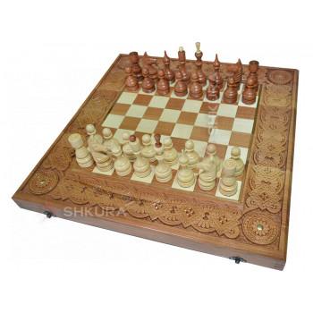 Шахматы + Нарды, 50х50 см. Медь