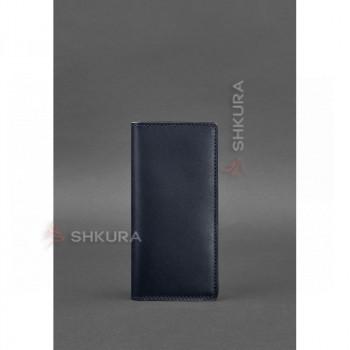 Кожаное портмоне-купюрник 11.0 темно-синее Краст