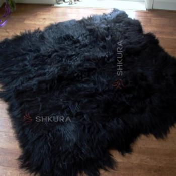 Ковер из черной исландской овчины, из 6 шкур