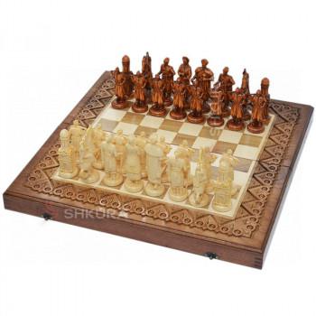 """Резные шахматы 3 в 1""""Казаки"""" 50х50 см. Медь"""