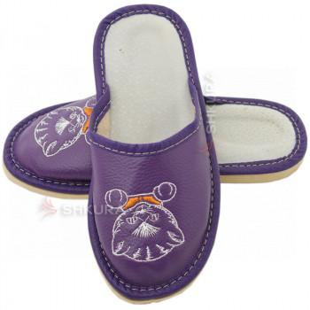 Кожаные тапочки для детей 01. Фиолетовые