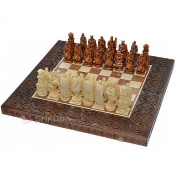 "Деревянные шахматы 3 в 1 ""Рыцари"". 55х55 см. Темные"