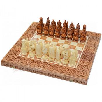 "Деревянные шахматы 3 в 1 ""Рыцари"". 55х55 см. Светлые"
