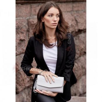 Белая кожаная женская сумка Элис