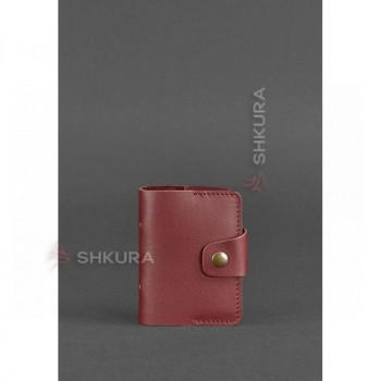 Женский кожаный кард-кейс 7.1 (Книжечка) бордовый