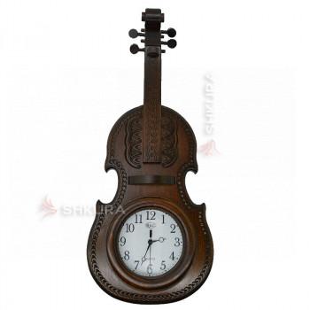 """Часы """"Скрипка"""", темные, светлый циферблат"""
