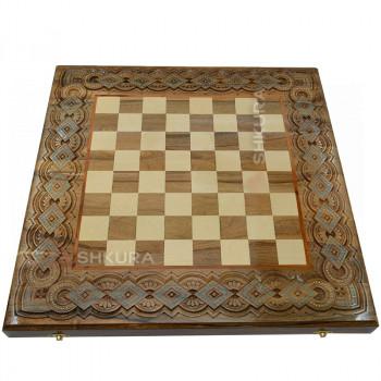 Шахматная доска. 50х50 см. Медь+Бисер