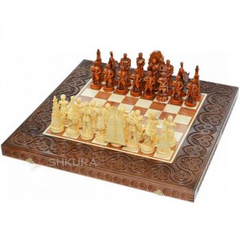 """Деревянные шахматы 3 в 1 """"Игра престолов"""". 55х55 см. Темные"""